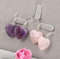 Сережки з натуральним аметистом серце, фото 1