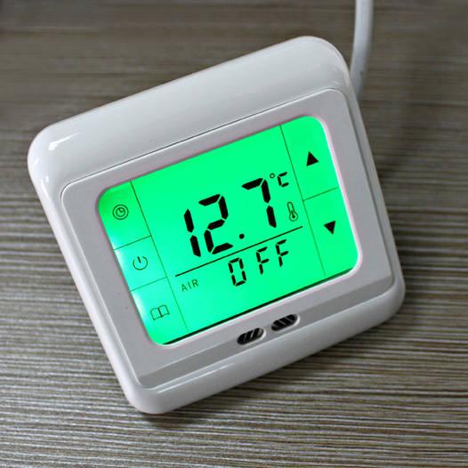 Терморегулятор сенсорный для теплого пола (комнатный термостат) Floureon C07. Зеленая подсветка.