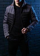 Модная куртка,парка мужская Победов - Pobedov Double Colour Spring Jacket(Black - Grey)