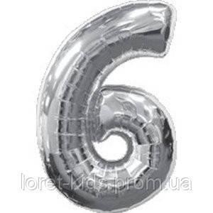 "Шар цифра фольга серебро ""6"""