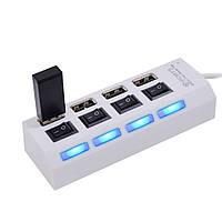 USB hub хаб 4 порта разветвитель переходник юсб белый