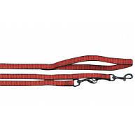 Поводок перестежка для собак, 2 карабина, нейлон, красный, КАРЛИ-ФЛАМИНГО