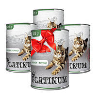 Покупай 4 по цене 3 PLATINUM Chicken сбалансированный корм премиум класса для кошек с мясом курицы 415 г