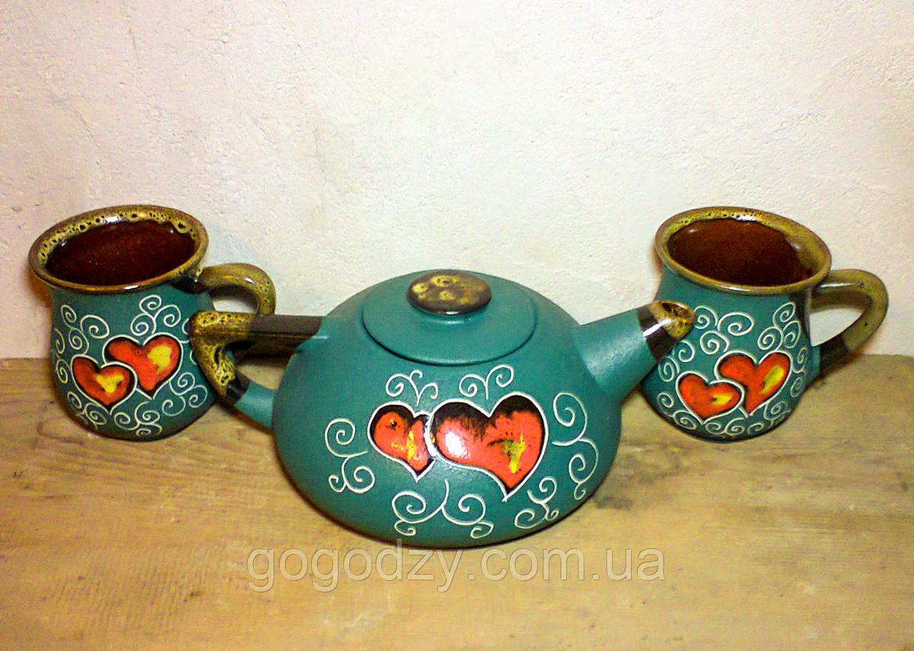 """Чайний набір, декор """"Серце"""" зелений великий"""
