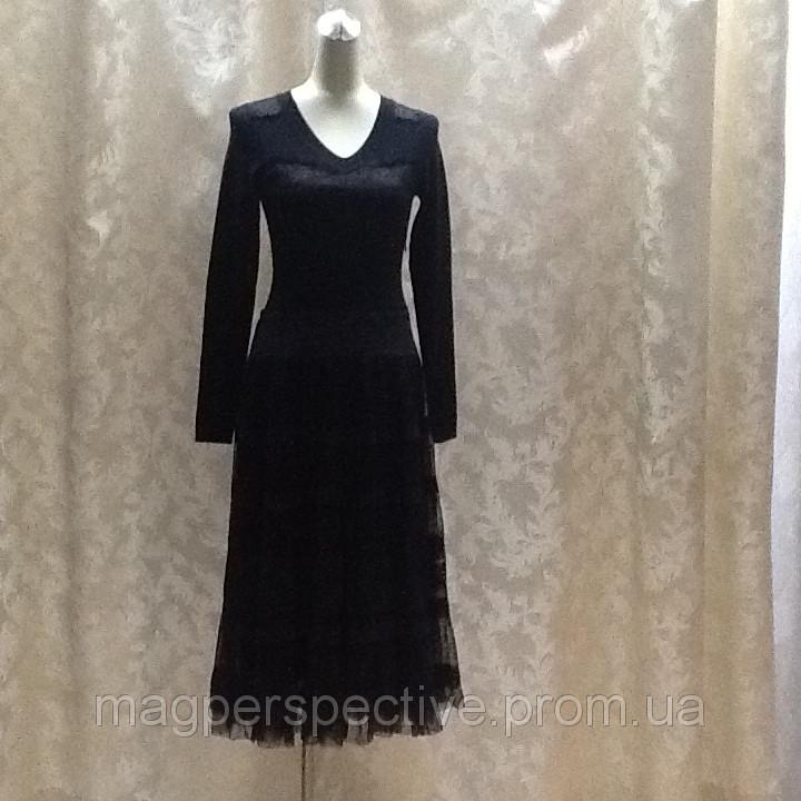 Платье миди, черное трикотаж, шифон юбка Dolce&Gabbana