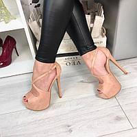Женские босоножки на каблуке 14.5 см, эко замша, пудра / модные босоножки  женские, замшевые, стильные