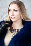 Синий меховой палантин из финского песца, фото 4