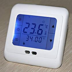 Терморегулятор сенсорный для теплого пола (комнатный термостат) Floureon C07. Синяя подсветка.