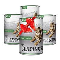 Покупай 4 по цене 3 PLATINUM Rabbit сбалансированный корм премиум класса для кошек с мясом кролика 415 г