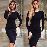 Платье классическое(48-52) футляр миди черное, длинный рукав, теплое, трикотажное