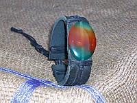 Кожаный браслет на руку, вставка из натурального камня