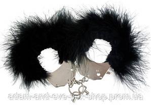 Наручники металлические с черной отделкой перьями Adrien Lastic Handcuffs Black