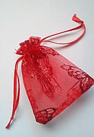Подарункові мішечки, органза червона з метеликами 7х9 см, 1 шт. Виробництво Україна., фото 1