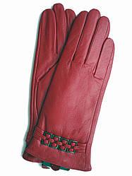 Женские красные кожаные зимние перчатки на плюше