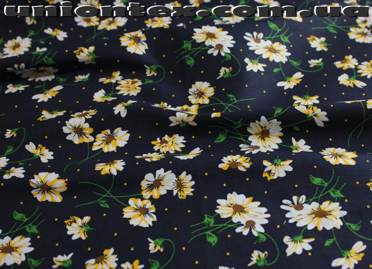 Ткань коттон стрейч принт цветы