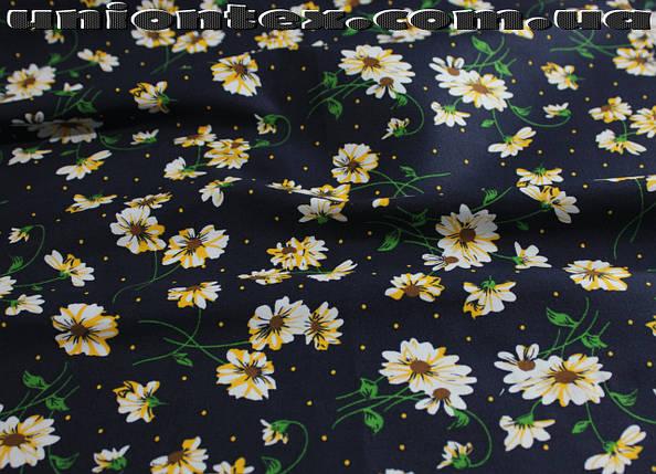 Ткань коттон стрейч принт цветы, фото 2