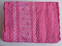 Махровое банное полотенце 140х70см (плетенка) Розовый