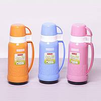 Термос 1000 мл со стеклянной колбой и 2 пластиковыми чашками Kamille 2082