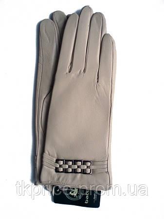Женские бежевые кожаные перчатки на плюше, фото 2