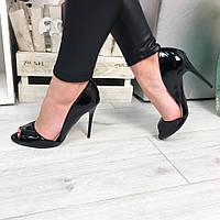 Женские босоножки на каблуке 10.5 см, эко лак, черные / черные босоножки  женские 2017, лаковые, красивые