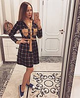Платье Клетка Рубашечный Стиль Турция Трикотажное Платьице Карманы