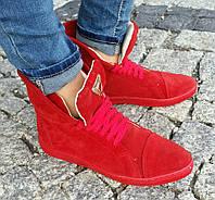 Женские ботинки Красные из Натуральных материалов Модные  Польша Оригинал