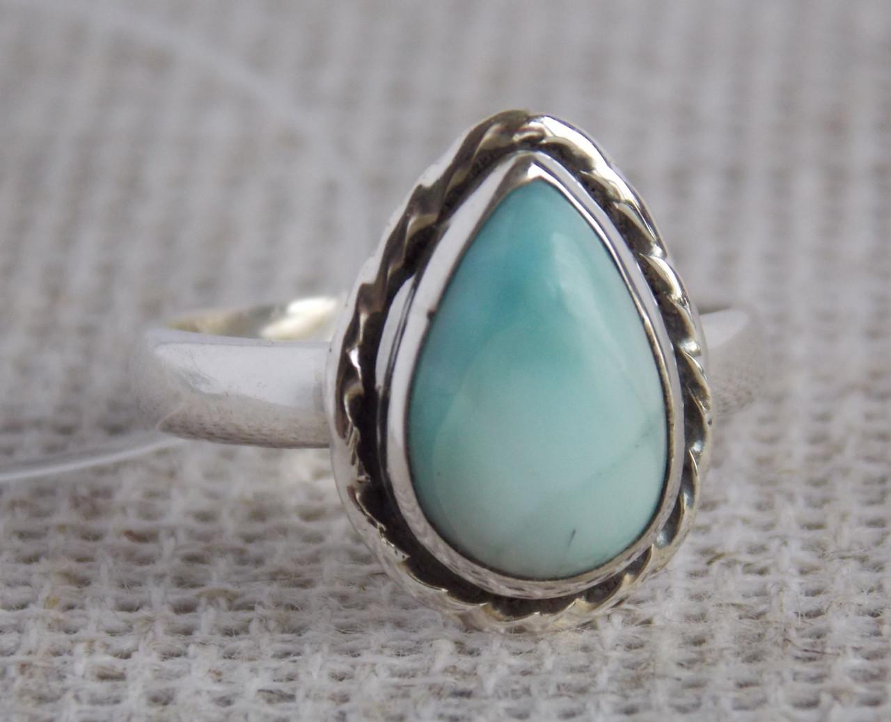 Серебряное кольцо с ларимаром 16 размера