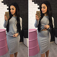 Теплый костюм: кофта+юбка из ангоры меланж серый