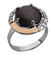 """Срібне кільце """"Удача"""" -  срібло 925 проби з золотими вставками, серебряное кольцо с золотыми вставками"""