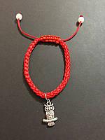 """Браслет оберег красная нить с талисманом """"Сова"""" - символ мудрости"""