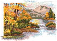 Наборы для вышивки нитками - счётный крест СК Осенний закат в горах