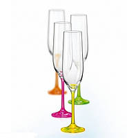 Бокалы для шампанского Bohemia Neon 190 мл - 4шт Богемия Неон