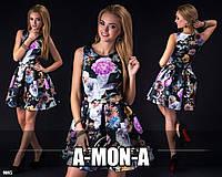 Нарядное неопреновое платье клеш с ярким узором