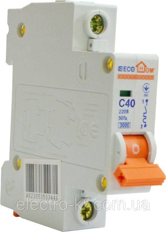Автоматичний вимикач ECO MB 1p C 40A ECOHOME