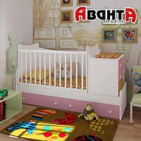 """Детская кроватка-трансформер """"SKY"""" (БЕЛАЯ-РОЗОВАЯ)"""