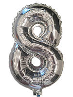 Шар цифра 8 фольгированный серебро 35 см