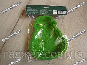Силиконовая форма для выпечки Снеговик зеленого цвета, фото 2