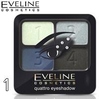 Eveline - Тени для век 4х-цв Quattro EyeShadows Тон 01 голубые, синие