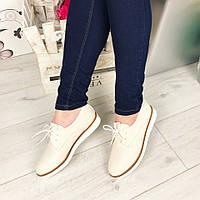 Женские туфли на шнурках, эко кожа, бежевые / бежевые туфли женские, низкие, стильные