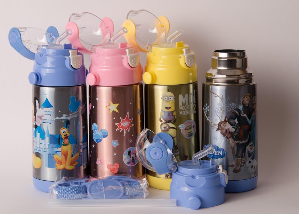 Термос детский DisneY 350 мл металлический бутылочка с трубочкой Акция  !!!