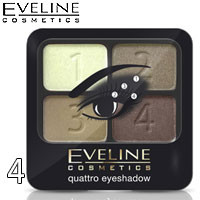 Eveline - Тени для век 4х-цв Quattro EyeShadows Тон 04 бежевые