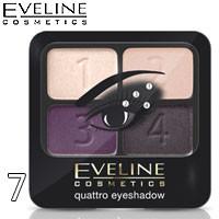 Eveline - Тени для век 4х-цв Quattro EyeShadows Тон 07 кремовые, персиковые, фиалка, фиолет