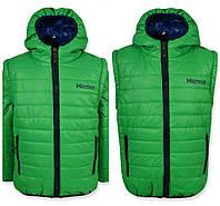 Детская демисезонная куртка -жилетка на мальчика зеленая, флис, р.110-128