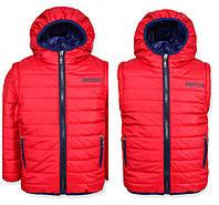 Детская демисезонная куртка-жилетка на мальчика красная, флис, р.110,116,122