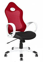 Кресло Матрикс-1 Белый, сиденье Сетка черная/спинка Сетка красный.