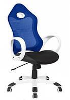 Кресло Матрикс-1 Белый, сиденье Сетка черная/спинка Сетка синий