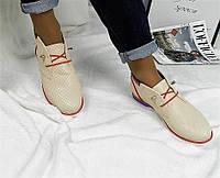 Женские демисезонные яркие бежевые ботинки на шнурках