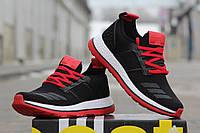 Мужские кроссовки ADIDAS PURE BOOST, плотная сетка, черно красные / черные кроссовки мужские Адидас Пур Буст