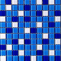 Микс из мозаики синего и белого цвета на сетке Vivacer Mix C011R
