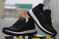 Мужские кроссовки ADIDAS PURE BOOST, плотная сетка, черно белые / черные кроссовки мужские Адидас Пур Буст